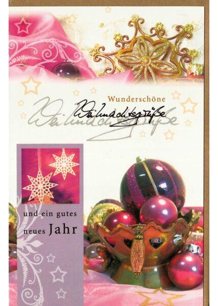 Weihnachtskarte gold pink Weihnachtskugeln