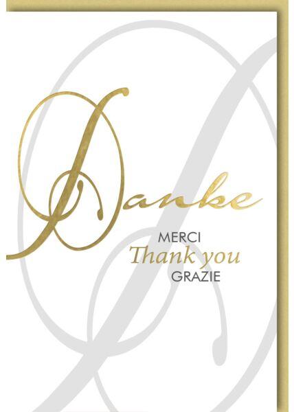 Danksagungskarten Goldschrift auf Weiß