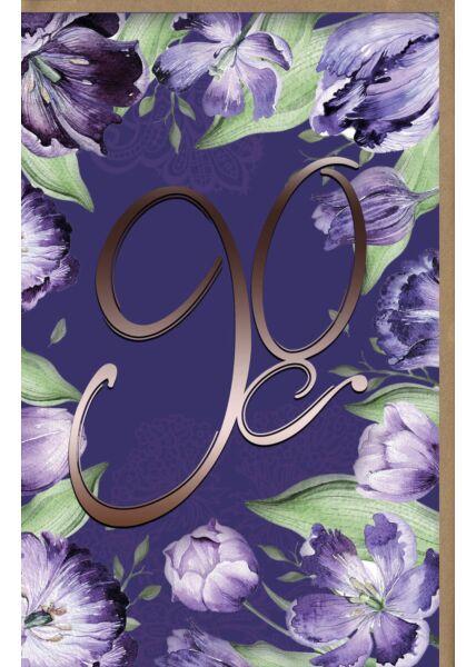 Karte Geburtstag 90 Jahre große Zahl, Hintergrund grafisch
