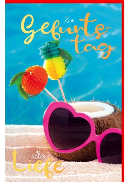 Glückwunschkarte Geburtstag Sonnenbrille, Kokosnuss im Sand, mit Goldfolie
