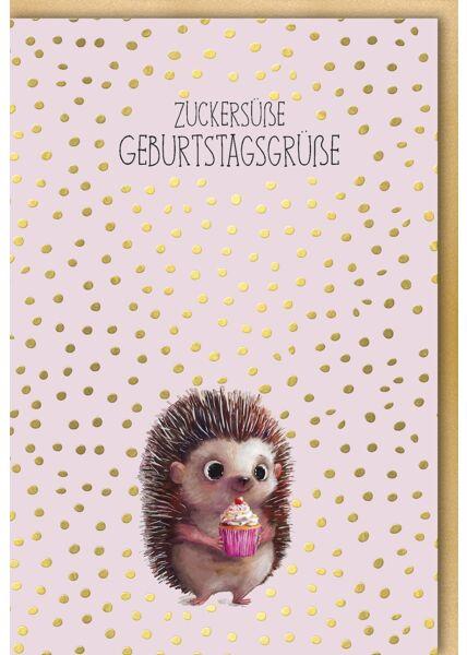 Geburtstagskarte Igel Tier niedlich Illustration