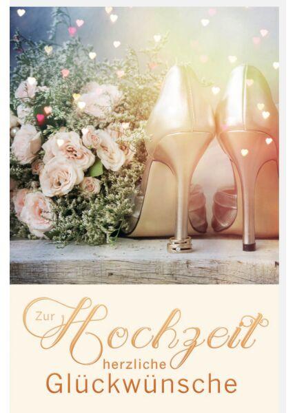 Glückwunschkarte Hochzeit Brautschuhe und Blume Zur Hochzeit