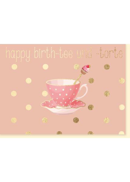 Frauen Geburtstagskarte Happy Birth-tee und -torte