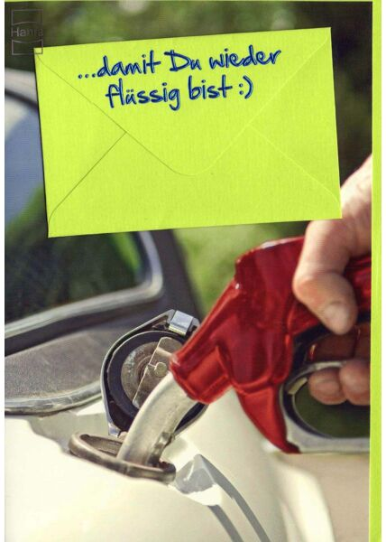 Karte mit Geldfach: Tankhahn im Auto