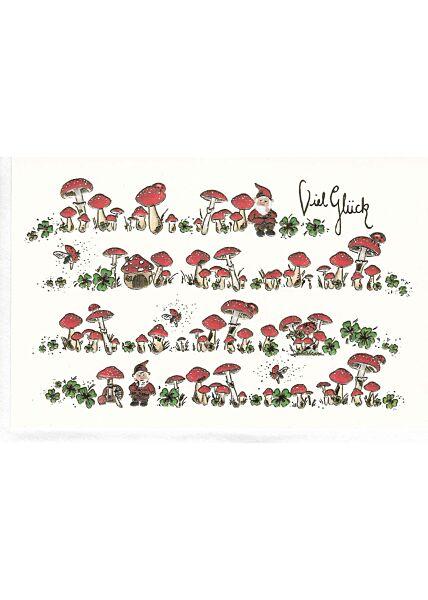 Grußkarte viel Glück. Pilze