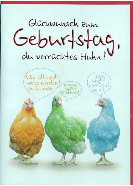 Geburtstagskarte lustig: Hühner bunt