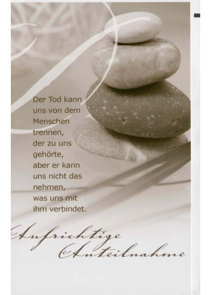 Trauerkarte mit schönem Text: Erinnerungen