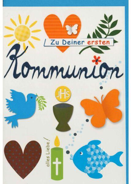 Kommunionskarte mit christlichen Symbolen