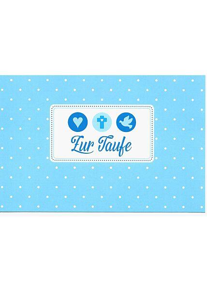 Glückwunschkarte zur Taufe blau für Jungen