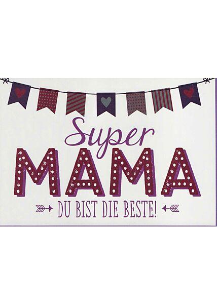 Muttertagskarte: Super Mama, du bist die Beste