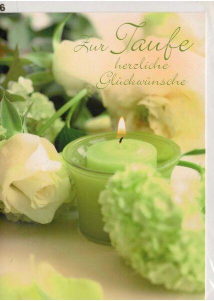 Taufkarte grün Kerz und Blumen