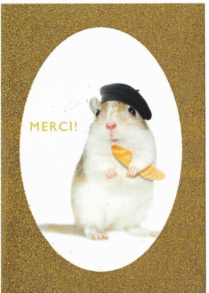 Grußkarte Danke Hamster Merci