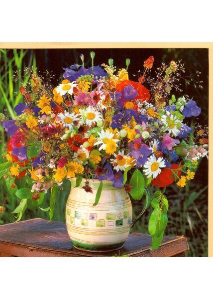 Grußkarte quadratisch ohne Text Vase Wildblumen