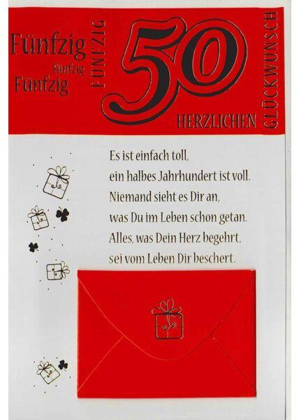 Geburtstagskarte Geldfach 50 Jahre