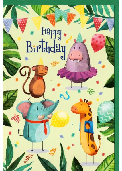 Kindergeburtstagskarte Tiere, Wimpelketten, Blätter