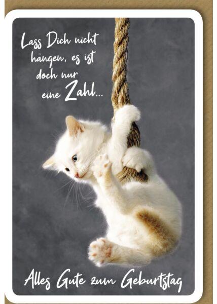 Geburtstagskarte - Kätzchen am Seil