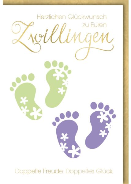Glückwunschkarte Geburt Baby - Zwillinge, grüne und blaue Glückwunschkarte Geburt Babyfußabdrücke