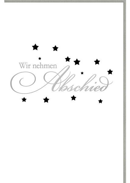 Trauerkarte Schriftkarte, mit Silberfolie