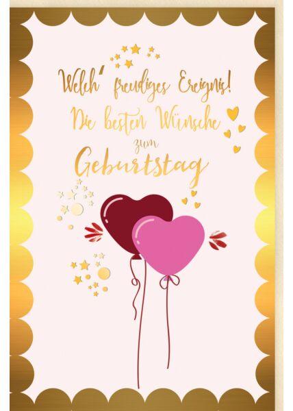 Glückwunschkarte Geburtstag Luftballons in Herzform, Sterne, Herzen