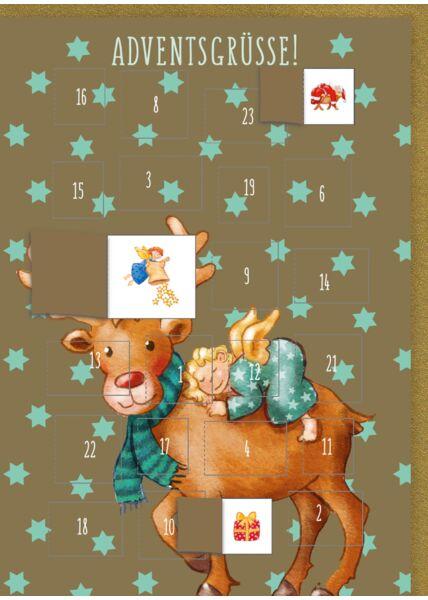 Adventskalender-Weihnachtskarte: Adventsgrüße - Rentier