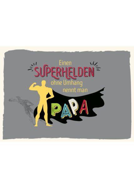 Postkarte Vater Spruch Einen Superhelden ohne Umhang nennt man Papa