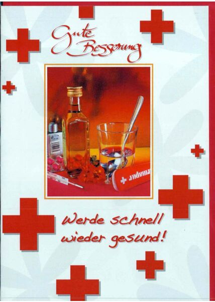Karte Genesung: Gute Besserung rote Kreuze Medizin