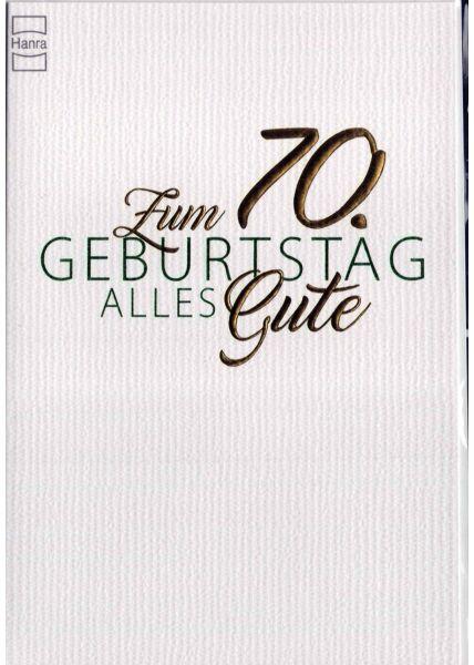 Geburtstagskarte 70. Geburtstag: weiße Karte mit silber Prägung