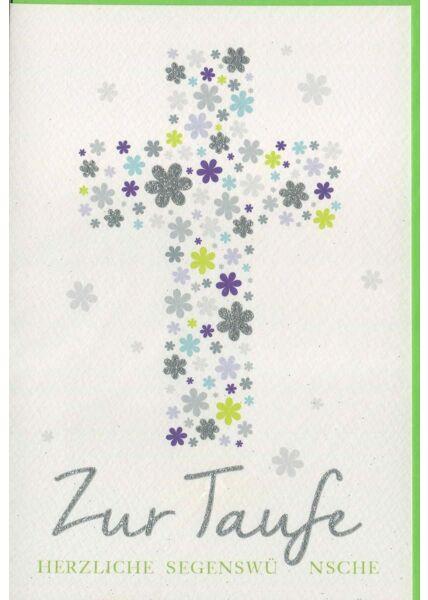 Taufkarte aus hochwertigem Papier mit Kreuz