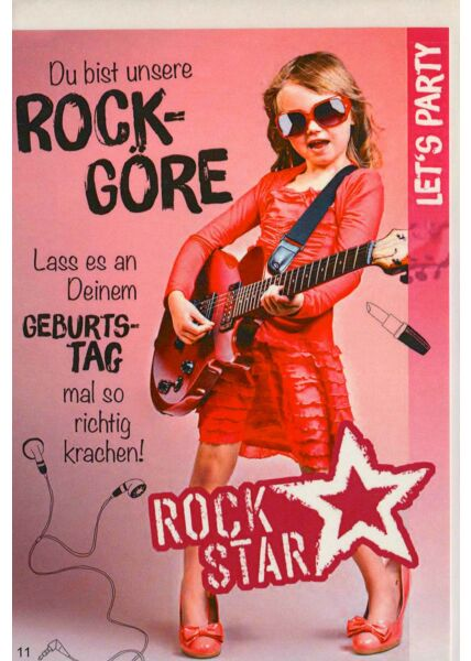 Geburtstagskarte Kind Mädchen Rockstar