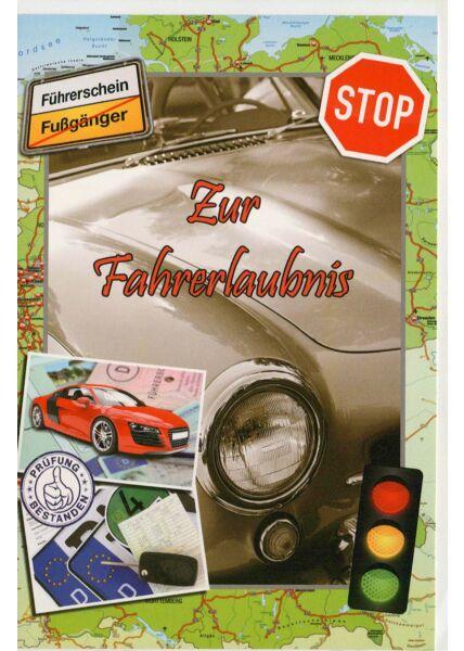 Glückwunschkarte zur Fahrerlaubnis Auto