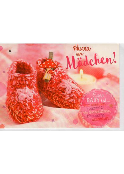 Babykarte Mädchen pink rosa rot