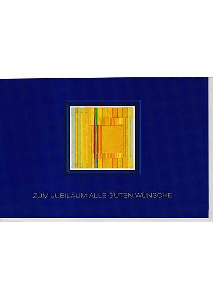 Karte zum Jubiläum blau goldene Schrift