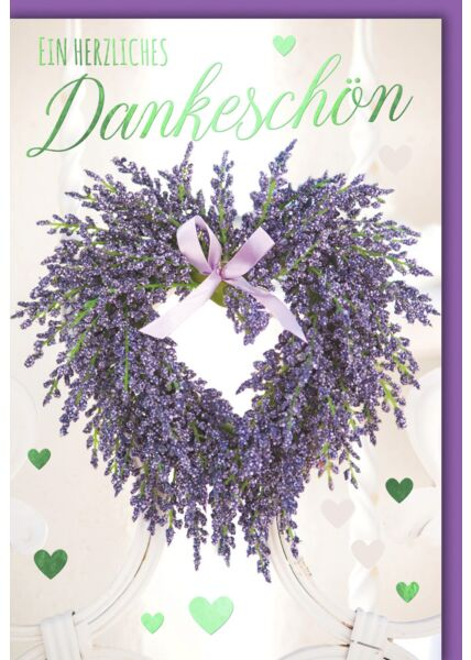 Grußkarte Danke Herz aus Lavendel
