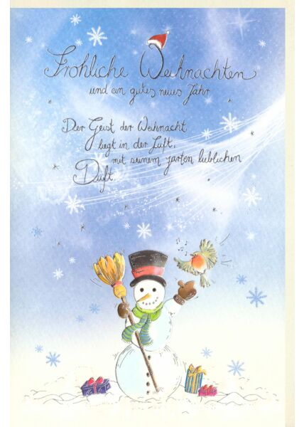 Weihnachtskarte premium Naturpapier Schneemann Silberfolie
