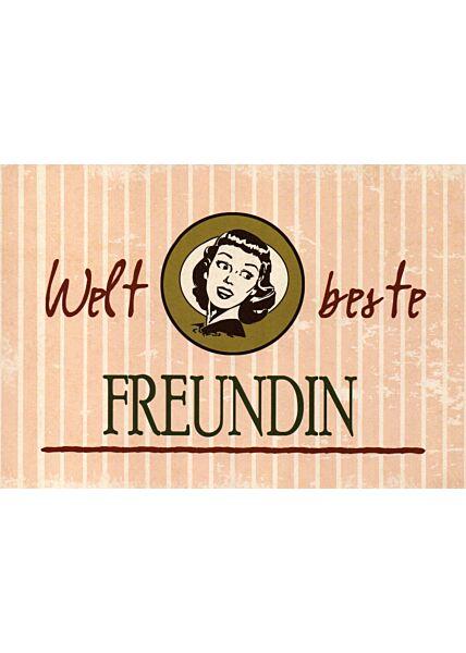 Postkarte Freunschaft Spruch Weltbeste Freundin