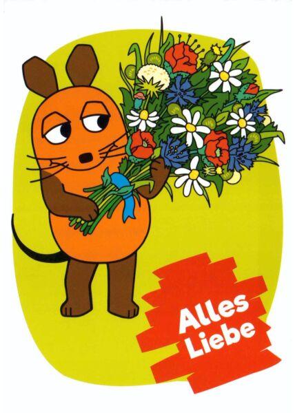 Maus-Postkarte Alles Liebe