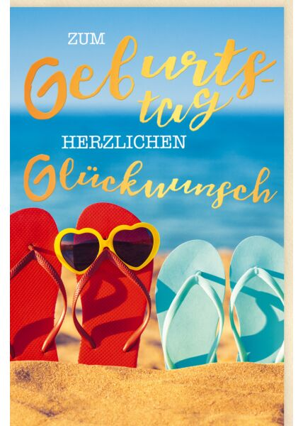Glückwunschkarte Geburtstag FlipFlops im Sand, Sonnebrille, Meer, mit Goldfolie