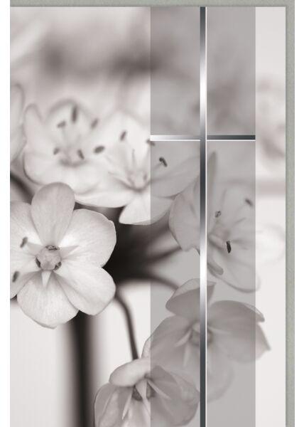 Trauerkarte Blüten mit Silberfolie