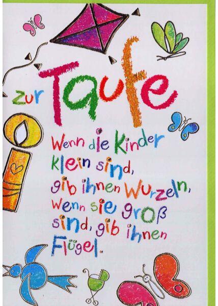Karte Taufe: Spruch in Kinderschrift