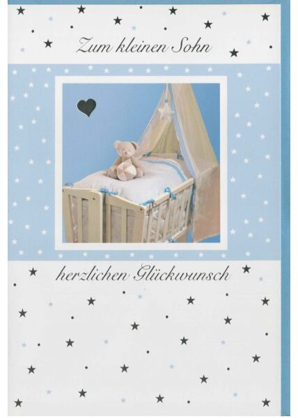 Glückwunschkarte Geburt Junge Wiege