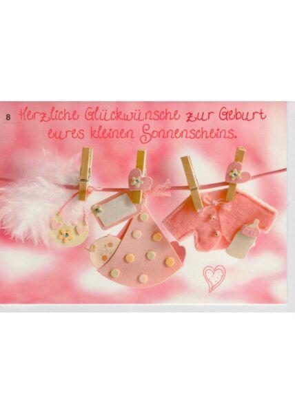 Geburtenkarte Mädchen rosa Wäscheleine