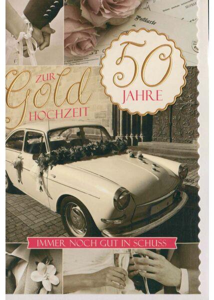 Glückwunschkarte goldene Hochzeit immer noch gut im Schuss