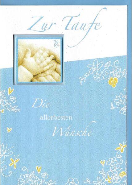 Glückwunschkarte Taufe Junge Premiumqualität blau