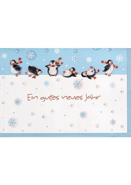 Neujahrskarte Pinguine verdelt