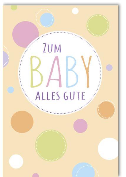 Glückwunschkarte Geburt Baby - bunte Punkte