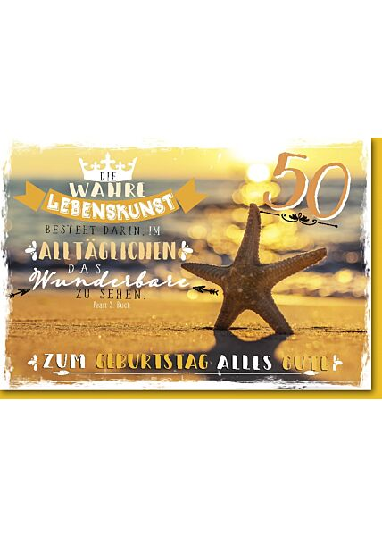 50.Geburtstagskarte, Seestern am Strand