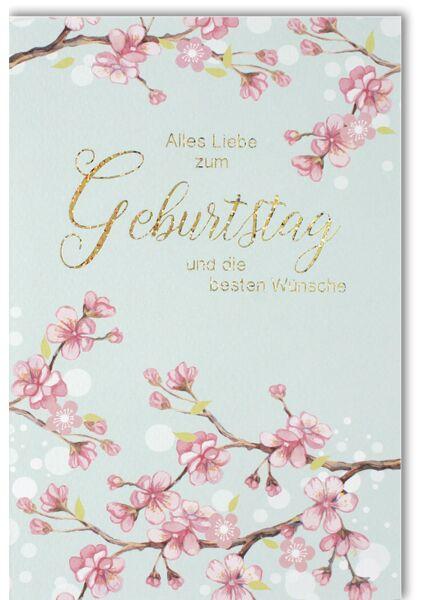 Geburtstagskarte hochwertig Äste mit rosa Blumen