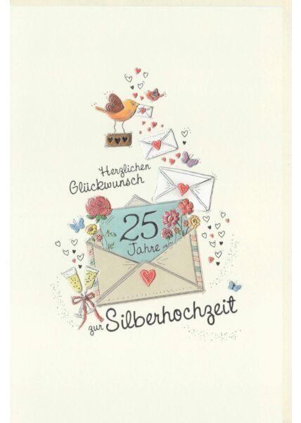 Karte zur Silberhochzeit Briefe mit Blumen, Sektgläser, Herzen, Vögel, Schmetterlinge, Naturkarton, mit Silberfolie und Blindprägung