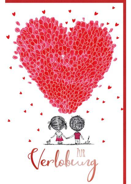 Glückwunschkarte zur Verlobung Herz rot