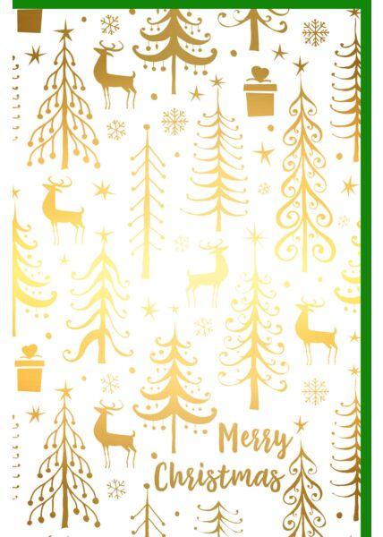 Weihnachtsgrußkarte Goldfolie Bäume Elche